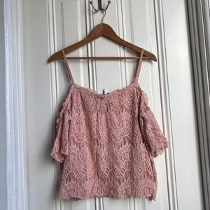 Love, Fire Blush Pink Lace Exposed Shoulder Top